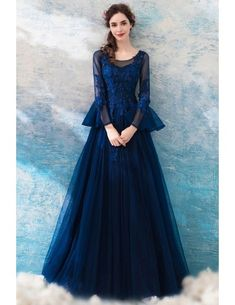Blue Round Neck Lace Tulle Long Prom Dress, Lace Evening Dress,Custom Made,Party Gown,Cheap Evening Dress Best Formal Dresses, Lace Summer Dresses, Long Sleeve Evening Dresses, Cheap Evening Dresses, Blue Wedding Dresses, Stylish Dresses, Lace Dress, Prom Dresses, Blue Long Sleeve Dress