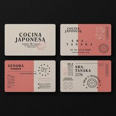 Señora Tanaka Japanese Restaurant Business Card - The Hungry Design Co. designed these business cards for a Japanese restaurant named Señora Tanaka. Branding And Packaging, Self Branding, Food Branding, Packaging Design, Identity Branding, Poster Sport, Poster Cars, Poster Retro, Logo Restaurant
