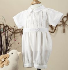 5162761fb8ca Pretty Originals Style D7697 Pleated Front White Cotton Christening Romper    Hat