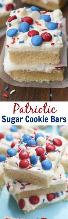 Patriotic Sugar Cookie Bars are my FAVORITE! Super soft and chewy sugar cookie bars with the best homemade frosting. | Tastes Better From Scratch 4th Of July Desserts, Fourth Of July Food, Köstliche Desserts, Holiday Desserts, Holiday Baking, Holiday Recipes, Delicious Desserts, Dessert Recipes, Yummy Food
