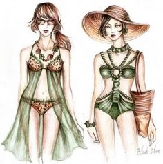 34 New Ideas For Fashion Sketches Swimwear Art Urban Fashion, Fashion Art, Editorial Fashion, Trendy Fashion, Fashion Design, Fashion Illustration Sketches, Fashion Sketches, Swimwear One Piece Slimming, Fashion Show Poster