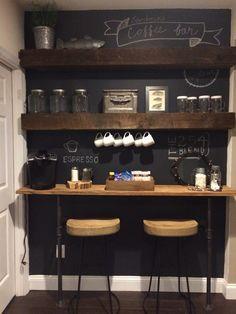 Breakfast bar and built in shelves