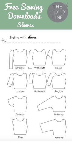 Free sewing download of all the sleeve names - perfect to help you with you next sewing or dressmaking project