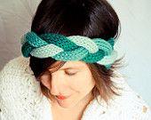 Braided Knit Headband - Wreath of Green - Wool Alpaca Mix