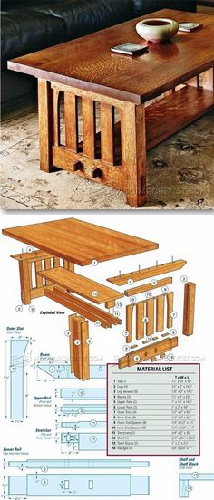 Mission Coffee Table Plans - Furniture Plans and Projects | http://WoodArchivist.com