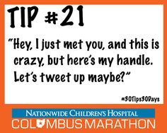 """Tip #21: Attend our Expo """"tweet up"""" to meet fellow marathoners & score some extra giveaways when picking up your racepacket. #30Tips30Days"""
