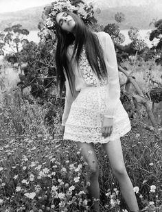 ethereal cut out flower lace gown with flower headwrap in daisy field