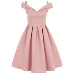 **Chi Chi London Fold over bardot midi dress ($96) ❤ liked on Polyvore featuring dresses, pink midi dress, midi dress, mid calf dresses, pink dress and calf length dresses