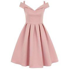 **Chi Chi London Fold over bardot midi dress ($96) ❤ liked on Polyvore featuring dresses, pink midi dress, midi dress, mid calf dresses, pink dress and calf length dresses
