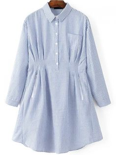 Shop Blue Vertical Striped Shirt Dress With Pocket online. SheIn offers Blue Vertical Striped Shirt Dress With Pocket & more to fit your fashionable needs. Stylish Dresses For Girls, Stylish Dress Designs, Designs For Dresses, Stylish Outfits, Vertical Striped Shirt, Striped Shirt Dress, Modest Fashion Hijab, Fashion Outfits, Clothes For Women