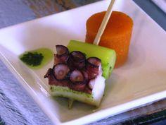 Skewered octopus with gazpacho