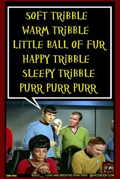 Courtesy of David Gerrold (the guy who invented Tribbles, and who has appeared on an episode of The Big Bang Theory...chatting in the background with DC Fontana and Stuart the Comic Book Guy at Wil Wheaton's party!)
