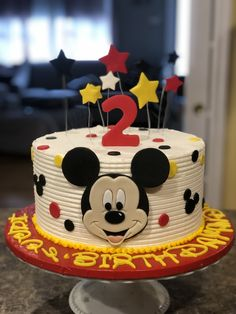Mickey Mouse Cake Buttercream Mickey Mouse cake with fondant accents<br> Bolo Mickey Baby, Bolo Do Mickey Mouse, Mickey Mouse Theme Party, Fiesta Mickey Mouse, Mickey Mouse Cupcakes, Mickey Mouse Cake Decorations, Elmo Party, Dinosaur Party, Dinosaur Birthday