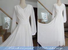 white long dress chiffon beach dress long by FashionalClothing