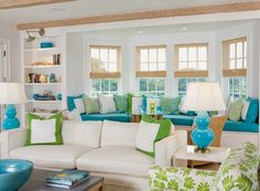 Everything Coastal....: 11 Coastal Room Ideas for Aqua and Lime Color Combo!