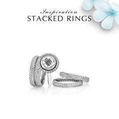 Stack the pavé ring with other sparkling rings for a truly dazzling evening look. This glamorous ring stack is the perfect upgrade of any outfit. #PANDORA #PANDORAring