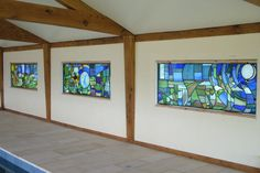 Pool stained glass panels Look at her site Abinger stained glass to see details of these amazing panels by Amanda Winfield
