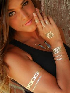 GOLD Modern Jewelry, Temporary  Metallic Tattoos by ShimmerTatts, $10.95 See our website today for our entire line of #temporarytattoos.  Just click pic. #ShimmerTatts #metallictattoo
