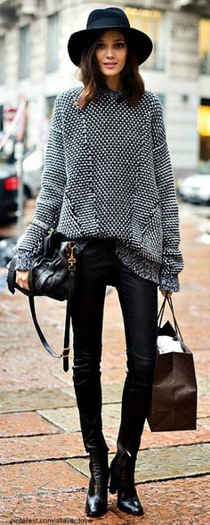Street Style: Oversized sweater with leather tights, beautiful leather ankle boots and oversized fedora http://momsmags.net