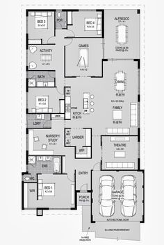 Space for his/her offices, man cave, kids' rooms play room, AND a guest room :) Love it! House Layout Plans, Family House Plans, Bedroom House Plans, Dream House Plans, House Layouts, House Rooms, House Floor Plans, My Dream Home, Home Design Floor Plans