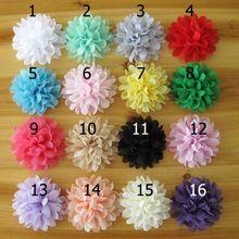 Venta al por mayor nuevo flores de tela para las vendas hechos a mano baby girls accesorios para el cabello DIY gasa florecen las vendas 30 unids/lote(China (Mainland))