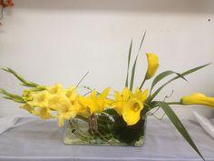 Yellow Gladiolus and Mini Calla Lily Arrangement.