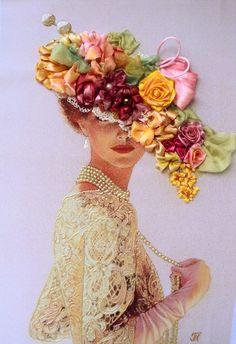 """Quadro """"Dama"""", realizzato in tecnica Silk ribbon embroidery.."""