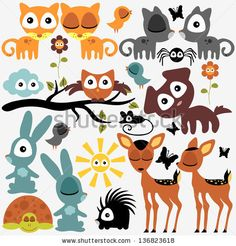 Set of various cute funny animals by paw, via ShutterStock