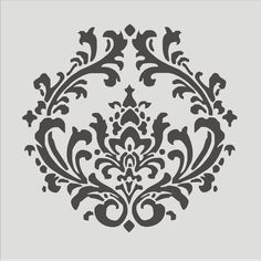 damansk wall stencils | Stencil, Damask pattern 4.3, Flourish, Wall stencil, image is 8 x 8 ...