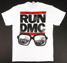 2df9c89ca2f RUN DMC JMJ NYC Cityscape Glasses T-shirt Rap Hip Hop Tee Adult S