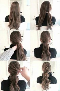 New Matte Ombre ideas for diversifying classic brown and blond ombre hair - Alles - Wedding Hairstyles Up Hairstyles, Pretty Hairstyles, Wedding Hairstyles, Pinterest Hairstyles, Easy Work Hairstyles, Ponytail Hairstyles Tutorial, Updo Diy, Office Hairstyles, Ponytail Tutorial