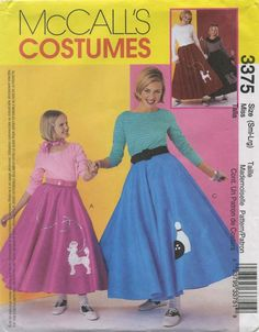 Retro Vintage Circle Skirt / Poodle Skirt Sewing Pattern | McCall's 3375 | Year 2001 | Miss 8-18 | Bust 31½-40 | Waist 24-32 | Hip 33½-42