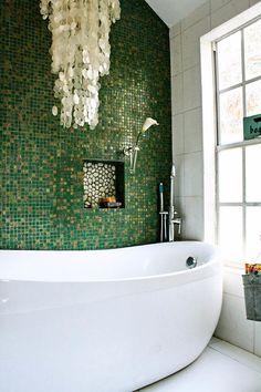 green walls, emerald, chandeliers, bathroom designs, mosaic tiles, beach inspired, dream cottage, accent walls, glass tiles