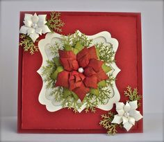 card using martha stewart pine branch punch | Spellbinder Poinsettia die, Martha Stewart pine branch punch