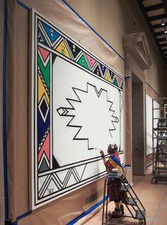 Esther Mahlangu Creates Murals For Virginia MFA - Burnaway South African Artists, African Tribes, African Art For Kids, African Art Paintings, Mandala Canvas, Ancient Egyptian Art, Art Courses, Afro Art, Aboriginal Art