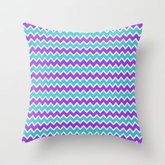 Teal and Purple Chevron Throw Pillow for baby nursery or girls bedroom bedding decor #decampstudios