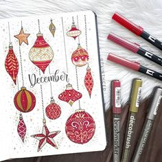 greeting y'all a happy december first (on december ? felt really extra while doodling these ornaments inspired by 's december plan with me ❤ can't believe we're already in the last month of 2018 and that i'd keep up this long with my bullet journal ? Bullet Journal Tumblr, Bullet Journal Cover Ideas, Bullet Journal Notebook, Bullet Journal Tracker, Bullet Journal Layout, Bullet Journal Monthly Spread, Bullet Journal Inspiration, Journal Covers, Bullet Journals