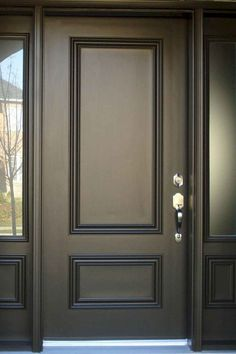 Front Door Paint Colors - Want a quick makeover? Paint your front door a different color. Here a pretty front door color ideas to improve your home's curb appeal and add more style! Black Front Doors, Front Doors With Windows, The Doors, Entrance Doors, Wood Doors, Panel Doors, Sliding Doors, Double Front Entry Doors, Black Windows