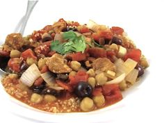 A Stupendous One Dish Wonder, Skinny Moroccan Chicken Stew. If you're looking to make an easy dish that's over the top exotic and delicious, this one's for you! Each serving has 9 grams of fiber, 382 calories, 5.7 grams of fat, 9 Weight Watchers POINTS PLUS. It will keep you full for hours! http://www.skinnykitchen.com/recipes/a-stupendous-one-dish-wonder-moroccan-chicken-stew/