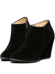 Black Chunky High Heel Point Toe Boots 36.05