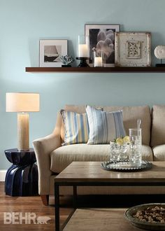 Find out how this Watery blue color from BEHR will look in your family room or bedroom by testing out BEHR color palettes on our virtual previewer. This fluffy-looking color will soothe the senses and add a seaside feel to your space.