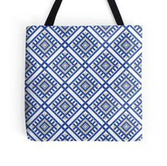 'Traditional Blue-Yellow Geometric Pattern' Tote Bag by adinagraphics Large Bags, Small Bags, Cotton Tote Bags, Reusable Tote Bags, Medium Bags, Christmas Art, Blue Yellow, Are You The One, Traditional