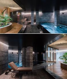 A hotel spa with a curved glass wall that provides views of the swimming pool. Hidden Lighting, Curved Walls, Massage Room, Lush Garden, Wood Slats, Hotel Spa, Swimming Pools, Columns, Exterior