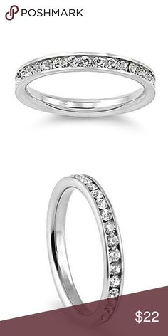 Stunning Stainless Steel Eternity Band Stainless Steel  Cubic Zirconia stones Sizes 5-10 Come with gift box Please allow seven business days for delivery. Jewelry Rings