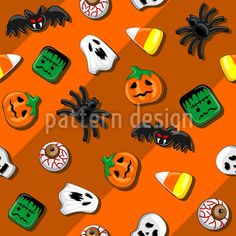 Spooky Candy Party Pattern Design by BluedarkArt at patterndesigns.com Halloween Vector, Halloween Patterns, Vector Pattern, Pattern Design, Candy Party, Surface Design, Skull, Snoopy, Witchcraft