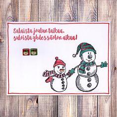 Kaksi lumiukkoa Christmas Diy, Christmas Cards, Malli, Journal Ideas, Bullet Journal, Christmas E Cards, Christmas Makes, Homemade Christmas, Christmas Card Sayings