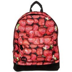 MiPac STRAWBERRIES Rucksack ($23) ❤ liked on Polyvore featuring bags, backpacks, red, rucksack bag, zipper backpack, red backpack, knapsack bags and zip handle bags