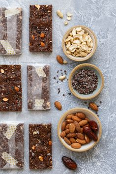 Rx bar copycat-Dates, Nuts, and Cocoa combine with natural egg white protein for a delicious and energy-packed bar! Chocolate Protein Bars, Low Carb Protein Bars, Protein Cake, High Protein Snacks, Protein Foods, Protein Muffins, Protein Cookies, Protein Recipes, Vegan Protein