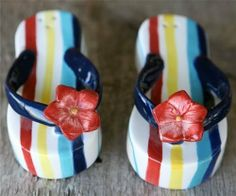 """Tropical Beach Flip Flop Sandal Salt & Pepper Shakers S/P by Great Finds. $10.88. Hand painted ceramic. Each shaker measures approx 4.5"""" x 2.25"""". Tropical Beach Flip Flop Sandal Salt & Pepper Shakers S/P"""