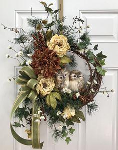 Fall Wreath Owl With Birds Woodsy Winter Owls Front Door